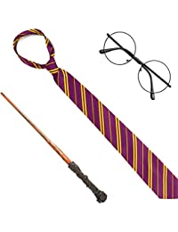 Wizard Costume Accessories Set - Nerd Circle Glasses, Red and Gold Tie and a Magic Wand Accessory Set for Kids and Adults