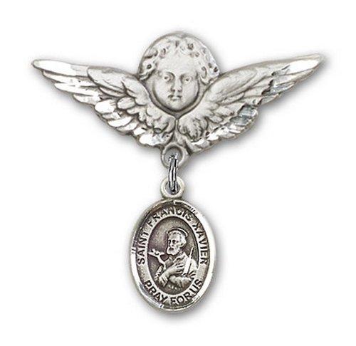 Icecarats Créatrice De Bijoux En Argent Sterling St. François-Xavier Charme Ange Broche De Badge 1 1/8 X 1 1/8