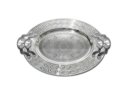 Oval Silver Plated Serving Tray - Home N Kitchenware Collection (2 Piece Set) Oval Silver Plated Decorative Food/Coffee Serving Tray; 18