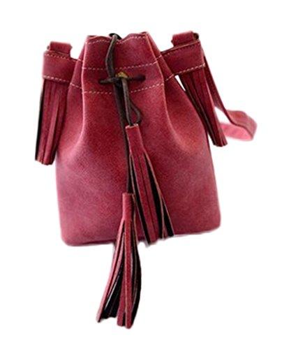 Bigood Sacs Portés Epaule Femme Faux Cuir Mini Sac à Bandoulière Frange Rouge
