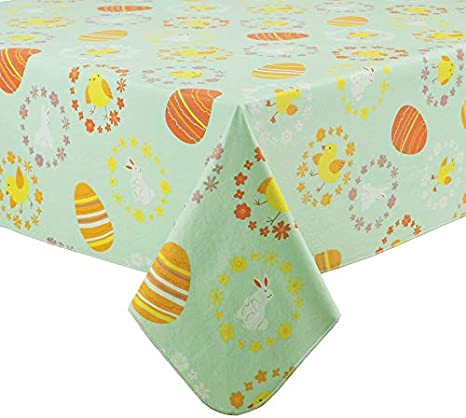 "Holiday Home Spring Easter Tablecloth Oblong 60/"" X 84/"""