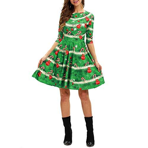 Christmas Series Dress-Women O Neck Christmas Print Half Sleeve Big Swing Party Mini Dresses at Amazon Womens Clothing store: