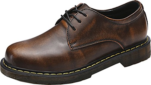 Abby 1670 Mens Latest Fashion Casual Retro Anti Slip Work Tooling Martin Low Top Lace Up Round Toe Leather Shoes Brown