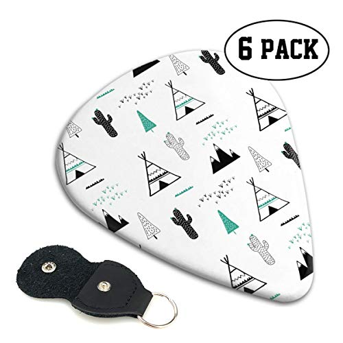 Cactus Tent Pattern Guitar Picks 6 Pack Celluloid Plectrum Electric Acoustic Guitars Bass Best Gifts Kids - Engraved Green Tent