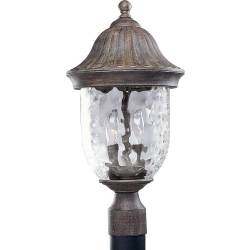 Progress Lighting P5429-87 2-Light Post Lantern with Optic Hammered Clear Glass to Complement The New Fieldstone Finish, (Coventry Outdoor Lantern)