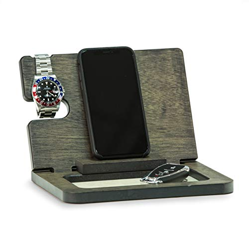 Executive Wood Docking Station with Valet, Watch Storage and Charging Station
