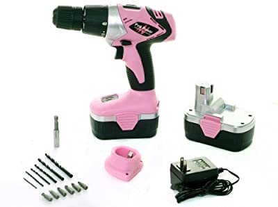Pink Power PP182 18V Cordless Drill Kit for Women with 2 Batteries, Case, Charger & Bit Set