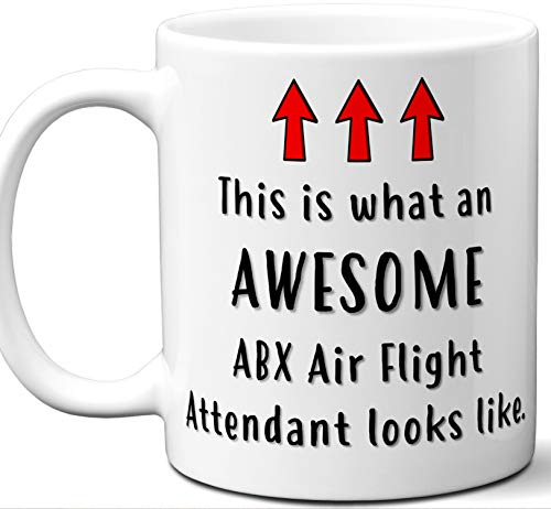 Flight Attendant Gifts For Women, Men, Coffee Mug. ABX Air. Funny Personalized Aviation Themed Valentines Retirement Idea Dad Unique Student Christmas Fathers Day Mothers Day Birthday.