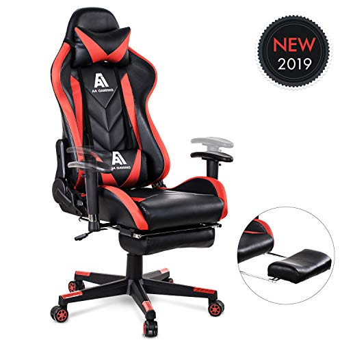 AA Products Gaming Chair High Back Ergonomic Computer Racing Chair Adjustable Office Chair with Footrest, Lumbar Support Swivel Chair - Red Uncategorized