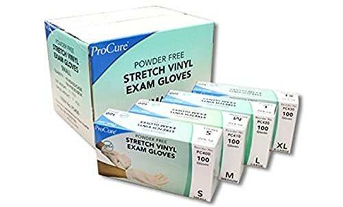 1000-Count-Per Case Stretch Vinyl Exam Gloves Powder Free (Medium)