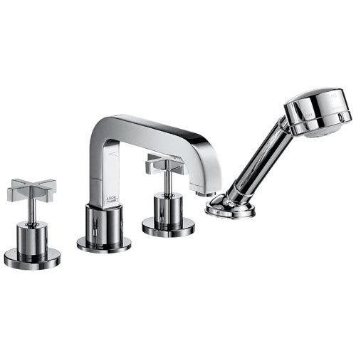 - Axor 39453001 Citterio 4 Hole Roman Tub Trim with Cross Handle in Chrome
