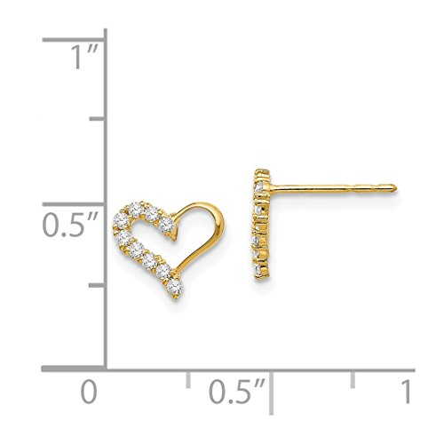 ICE CARATS 14k Yellow Gold Cubic Zirconia Cz Heart Post Stud Earrings Love Fine Jewelry Gift Set For Women Heart by ICE CARATS (Image #6)