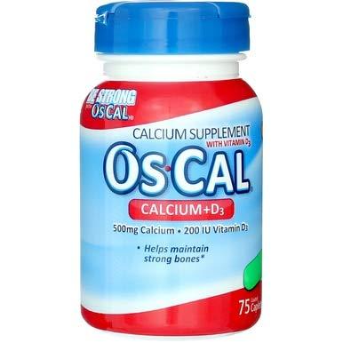 Os-Cal 500 mg Calcium + 200 IU D3, 75 Caplets Each (Pack of 5)