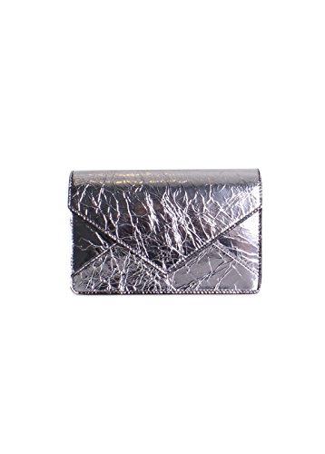 Tory Burch Crackle Metallic Leather Envelope Mini Crossbody Handbag in - Bag Burch Tory Silver