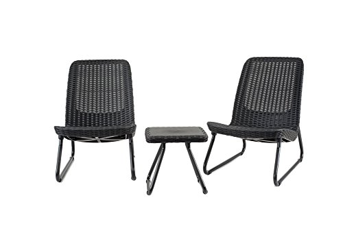 Modern Patio Chairs - Keter Rio 3 Pc All Weather Outdoor Patio Garden Conversation Chair & Table Set Furniture, Grey
