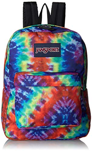 JanSport Superbreak Backpack - Lightweight School Pack, Red Hippie Days