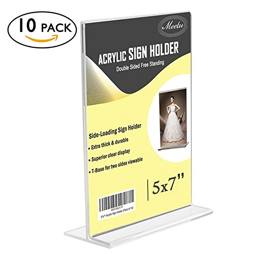 , MeetU 5x7 Vertical Ad Frame Double Sided Plastic Picture Frames Desktop Photo Frames Upright Thick T Shape Advertisement Display Menu Holder (Pack of 10) ()