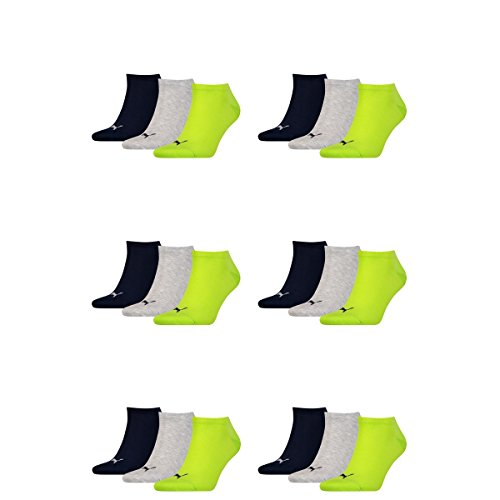18 pair Puma Sneaker Invisible Socks Unisex Mens & Ladies 064 - lime punch