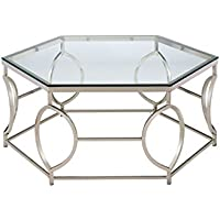HOMES: Inside + Out Iohomes Marilyn Geometric Chrome Frame Coffee Table