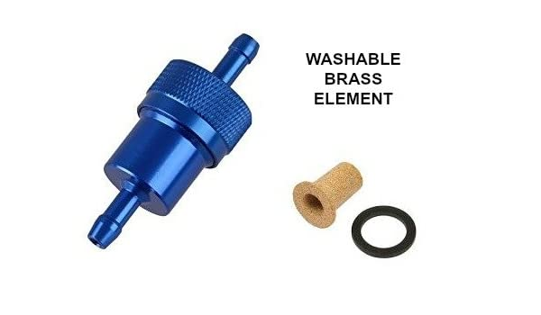 "BLUE 1//4/"" METAL UNIVERSAL IN LINE FUEL FILTER ANODISED ALUMINIUM"