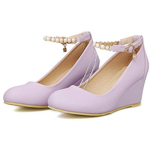 Toe Round pumps boucle Femme caoutchouc perle massif heels kitten balamasa Violet en shoes nvwITOxtn