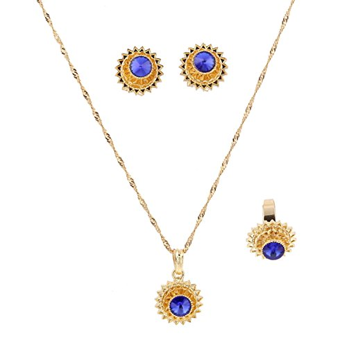 Flower Jewelry Set Ethiopian Gold Jewelry Sets Earrings Pendant Ring with Stone African Habesha Nigeria Jewelry (Blue)