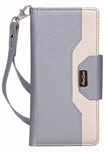ProCase Galaxy Note 10+ Plus/5G Wallet Case, Flip Fold Kickstand Case with Card Holders Mirror, Folding Stand Protective Book Case Cover for Samsung Galaxy Note 10+ Plus/5G (2019 Release) -Grey