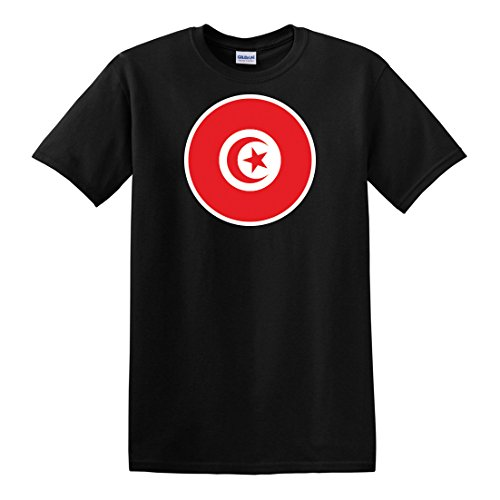 fagraphix Men's Round Tunisian Flag T-Shirt X-Large Black