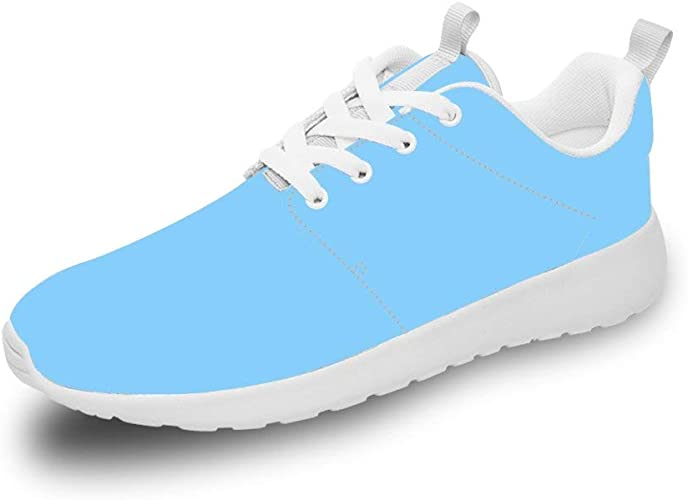 Mesllings Unisex Zapatillas de Running Sneaker Liso Azul Ligero ...
