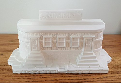 Retro Roadside Diner unpainted ceramic bisque ready to be painted Christmas Village