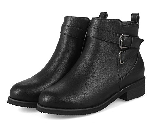 Boots Fashion Casual Bootie Ankle Boots Flats 2 Girls Ladies Outdoor Teens Size Buckle HiTime Black 12 wnqxS1t48W