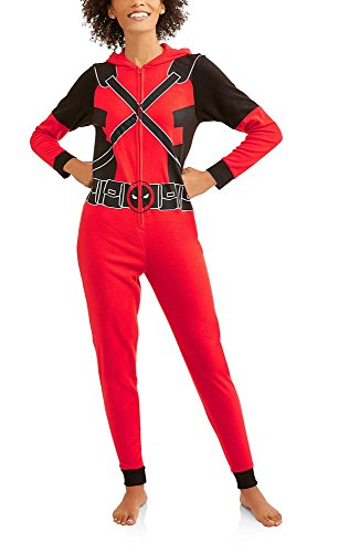 Deadpool Marvel Women's Cozy Fleece Union Suit Hooded Pajamas (L (12-14))