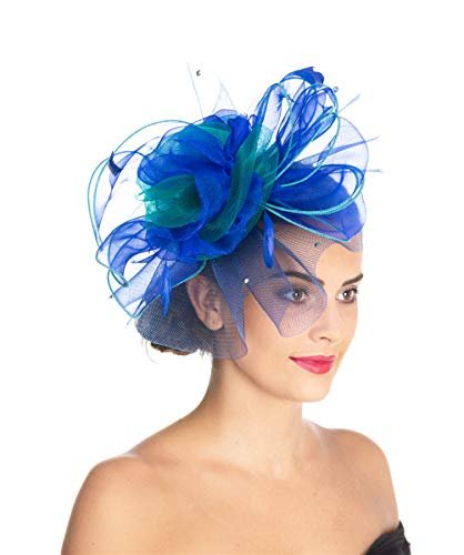 fb219148 Women's Organza Church Kentucky Derby British Fascinator Bridal Tea Party Wedding  Hat Summer Ruffles Cap Detachable