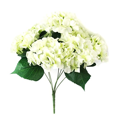 Iuhan Artificial HydrangeaSilk Fake 7 Heads Flower Bunch Bouquet Home Hotel Wedding Party Garden Floral Decor (White) (White Vases In Bulk)