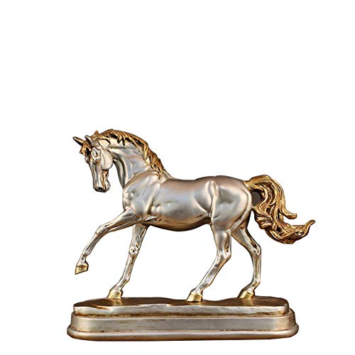 (YJF Creative Resin Standing Horse Statue for Home Decor Animal Ornament Sculpture)