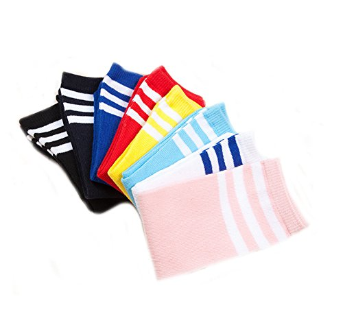 Ewandastore 1 Pair Cotton Over Knee Long Soccer Socks,Breathable Team School Socks for 4-10 Years old Kids Girls Boys Toddlers