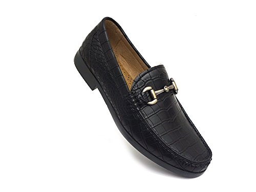 Image of Easy Strider Men's Loafer Shoes – Premium Alligator Material- Faux Leather Lined – Elegant Silver Metal Buckle - Perfect Business Dress Shoe for Men Or Casual Slip-On Loafer for Daily Wear