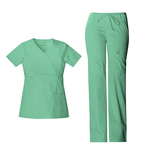 Cherokee Luxe Women's Empire Waist Mock Wrap Top 21701 & Women's Drawstring Cargo Pant 21100 Scrub Set (Spectra Green - XXX-Large/XXX-Large)