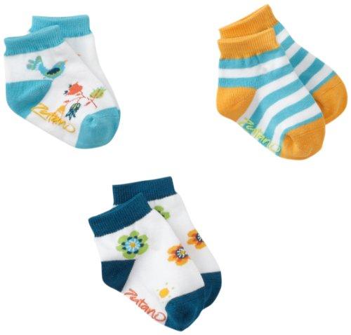 (Zutano Baby Girls' Newborn Three Pack Anklet Socks, Multi, 0-12 Months)