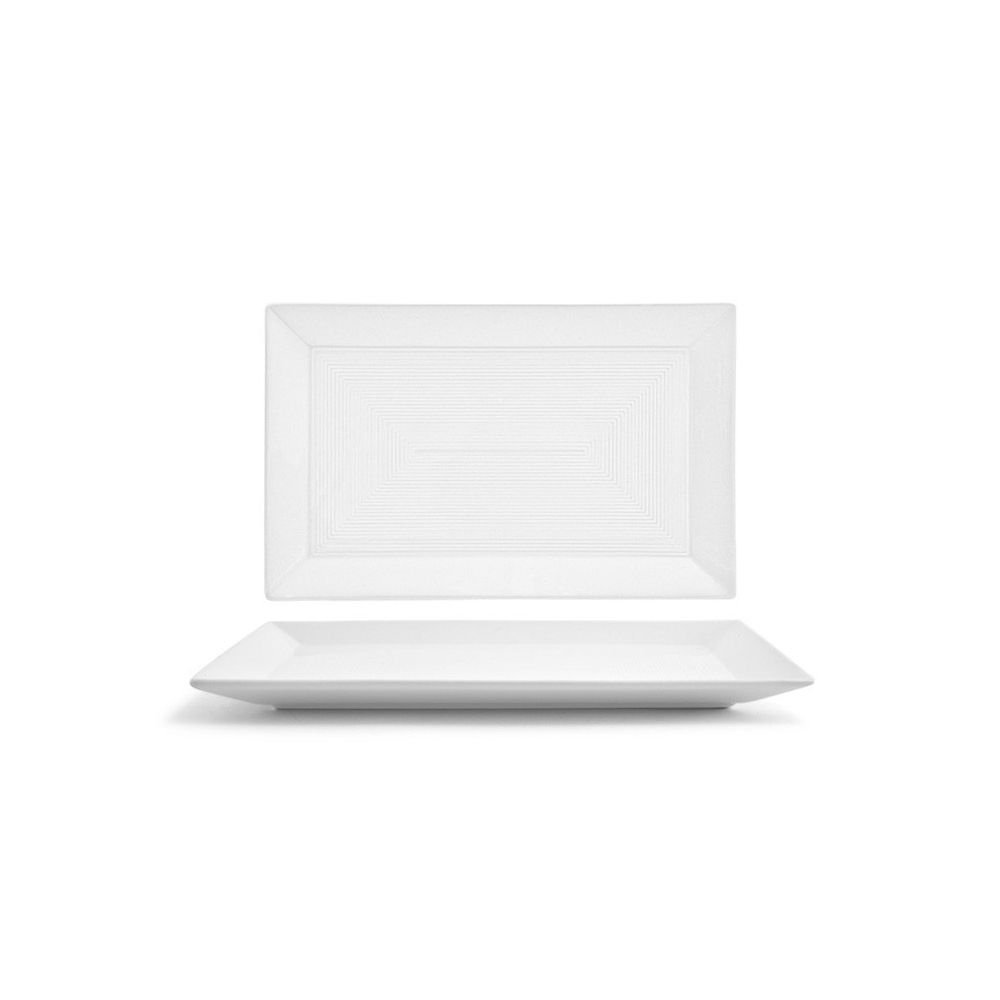 Front of the House DSP002WHP22 spiral Rectangle Plate, 7'' width, 11'' Length, Porcelain (Pack of 6)