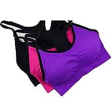 Spring Fever Women's Spagetti Strap Removable Pads Racerback Yoga Sport Bra