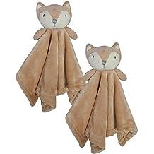 Bon Bebe Newborn Baby Huggybuddy Plush Security Blanket (2 Pack) Fox, Newborn
