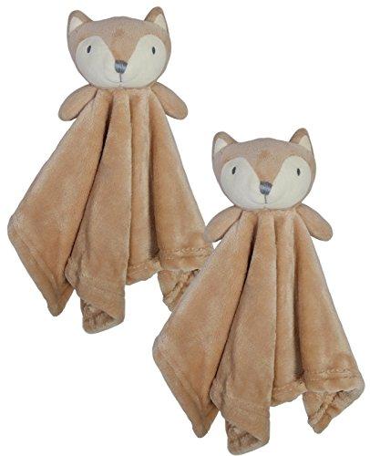 Bon Bebe Newborn Baby Huggybuddy Plush Security Blanket (2 Pack) Fox, Newborn (Security Blanket Nursery)