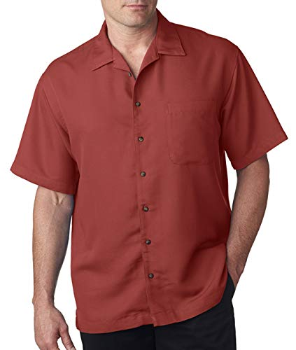 Gauze Camp Shirt - UltraClub Mens Cabana Breeze Camp Shirt (8980) -BRICK -L