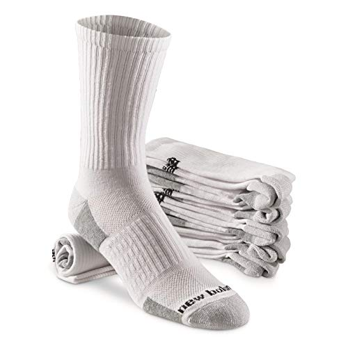 New Balance 6 Pack Essentials Cushioned Crew Socks, White/Black, X-Large