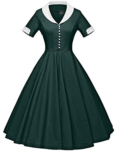 GownTown Womens 1950s Cape Collar Vintage Swing Stretchy Dresses Dark ()