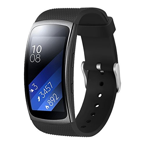 Aresh Compatible Samsung Gear Fit2 Pro Band/Gear Fit2 Band, Replacement Bands Accessories Compatible Samsung Gear Fit2 SM-R360 /Gear Fit2 Pro SM-R365 Smartwatch (5.9-7.5) (Black)
