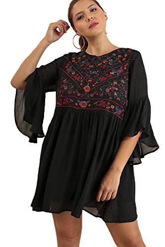 Boho Bliss! Plus Size Embroirdered Bell Sleeve Dress (1X-Large, Black) ()
