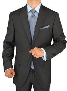 B003NN2O8C Gino Valentino Men's 2 Button Jacket Flat Front Pants Charcoal Gray Suit (42 Regular)
