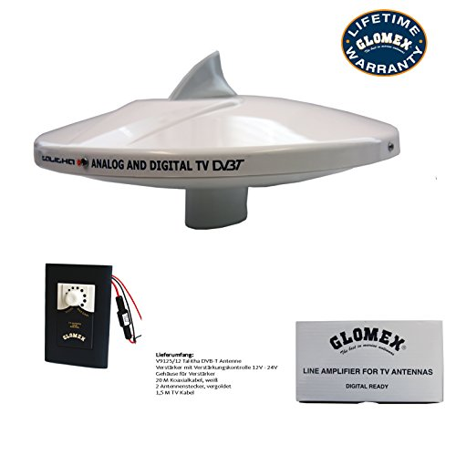 Glomex Talitha: V9125/12 omni-directional 360° ANTENNA for analog & digital TV - Omnidirectional DVB-T ANTENNA - 26 DB - DIAMETER 250mm with 20 M COAXIAL CABLE & CONNECTOR for receiving vertically polarized TV signals on sailboat & motorboat